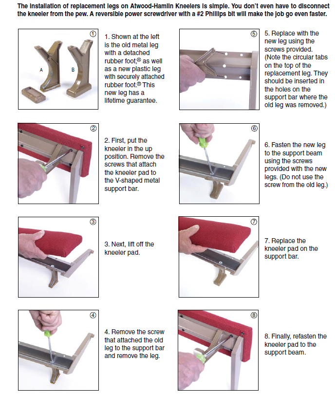 How to Replace kneeler Legs