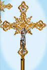 "Processional Crucifix, Gold Plated, with 10 1/2"" b"