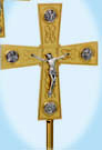 "Processional Crucifix, Gold Plated, with 12"" base"