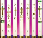 Refillable Paschal Candle Brass Cross Design