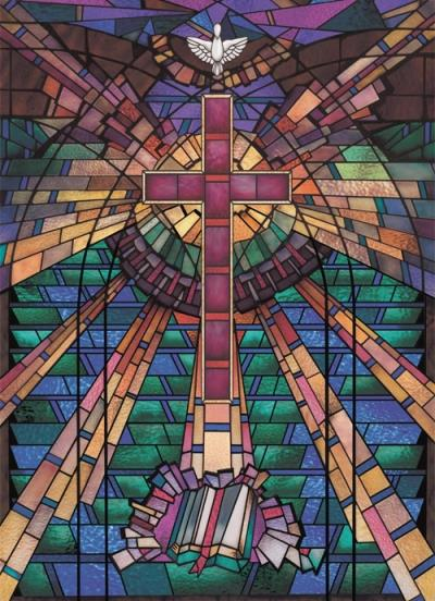 Backlit Baptistry Murals And Religious Wall Scenes