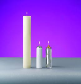 Here Is Our 2 Diameter Oil Candle Shell Shown With The Metal Or Clear Pvc Canister On Right Has Optional Follower Top And Socket